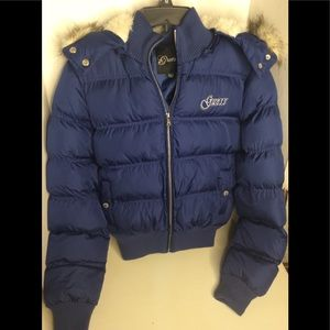 Guess fur puffer Jacket in Royal Blue with Logo